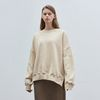 solid loose napping sweatshirt - beige