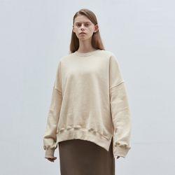 solid loose napping sweatshirt - beige
