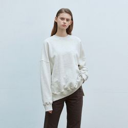 solid loose napping sweatshirt - ivory