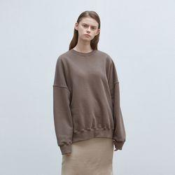 solid loose napping sweatshirt - brown