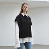cable wool knit vest - black