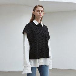 cable wool knit vest - black