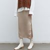 silky slit long skirt - beige