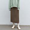 silky slit long skirt - brown