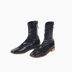 Squared toe ankle boots - black