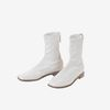 Squared toe ankle boots - white