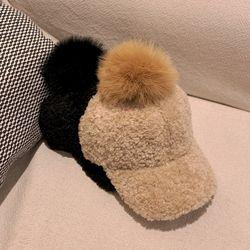 고급 라쿤 뽀글이 양털 폼폼 방울 겨울 캡모자