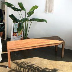 KA 고무나무 원목 나무 벤치 의자(3인용)