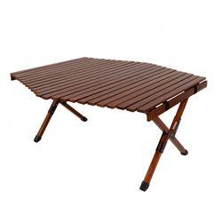 캠핑상회 접이식 원목 롤테이블 브라운 육각테이블