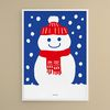 눈펑펑 눈사람 M 유니크 디자인 포스터 겨울 연말 A3(중형)