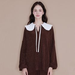 Frill Collar Blouse [Brown]