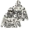 20 GRAFFITI OVERSIZED HEAVY SWEAT HOODIE WHITE