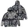 20 GRAFFITI OVERSIZED HEAVY SWEAT HOODIE BLACK