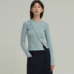 OBLIQUE LINE BUTTON KNIT T (SKYBLUE)