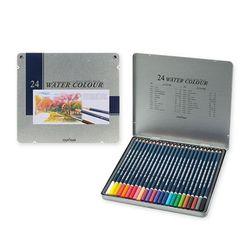 문화 전문가용 24색 수채화 색연필 틴케이스