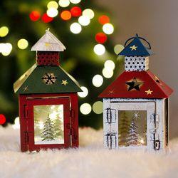크리스마스 양철 캔들(사각)