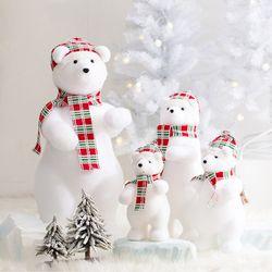 산타 북극곰 (체크레드)-특대
