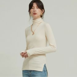 UNBALANCE SLIT HIGH NECK T (CREAM)