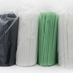에콜그린 친환경 생분해 일회용빨대 화이트 블랙 그린 500입