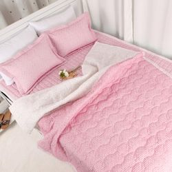 탱이배색 시어서커 이불 패드 베개 침구세트 Q 핑크