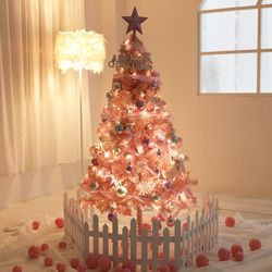 핑크 크리스마스 트리 소품 전구 풀장식 DIY 1.8m