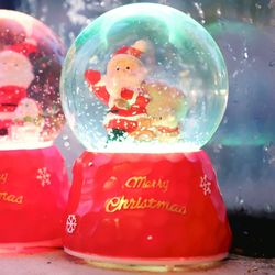 8cm 눈 결정 산타와 강아지 워터볼 (C.LED 사운드)