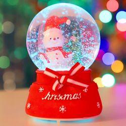 8cm 리본 선물 눈사람 워터볼 (B.LED 사운드)