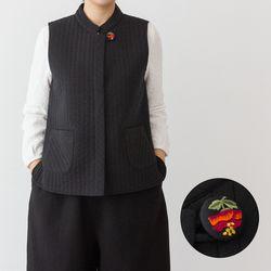 3024 여성 왕골 속단추 솜누빔조끼 2color