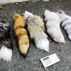 천연 여우 너구리 꼬리털 모피공예 악세사리부자재 가방장식