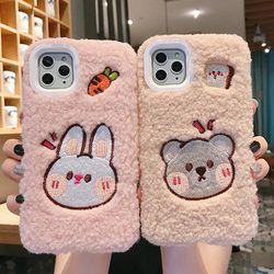 아이폰12 11 PRO MAX XS 8 7 토끼 곰돌이 양털 케이스