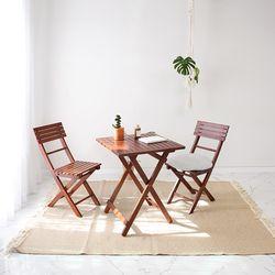 원목 접이식 카페테이블&의자 세트 디자인01 베이직 브라우니