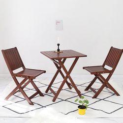 원목 접이식 카페테이블&의자 세트 디자인02 베이직 브라우니