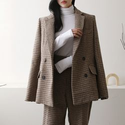 Wool Hound Check Button Blazer