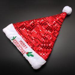 크리스마스 레드 반짝이 산타모자 40cm