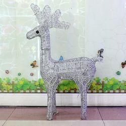 크리스마스 50cm 실버 반짝이 사슴 장식