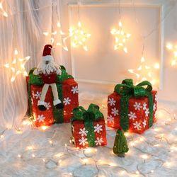 크리스마스 3p 눈꽃 레드 선물상자세트