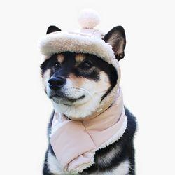 강아지 귀도리 에스키모 겨울 모자 목도리 세트