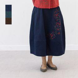 3028 여성 면마 덩굴꽃자수 단지치마 3color