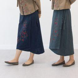 3029 여성 면마 덩굴꽃자수 랩치마 2color