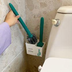 선인장인줄 변기솔 욕실 청소용품 핸드 벽걸이 부착 브러시 세트