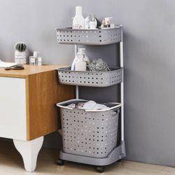 3단 이동식 빨래바구니 세탁선반 빨래통 수납선반