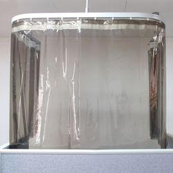 비말차단 우레탄 방풍 방한 비닐커튼 블랙투명XL (110x230cm)