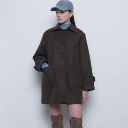 W21wool single collar half quilting coat brown