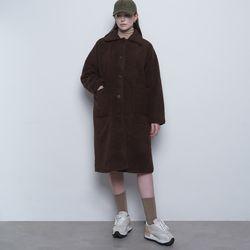 W21 single collar basic fleece coatbrown