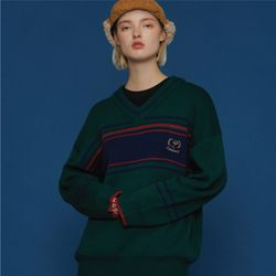 COMME V NECK SWEATER GREEN