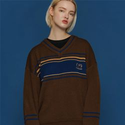 COMME V NECK SWEATER BROWN