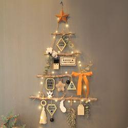 크리스마스 벽트리E 리스 트리 전구 나무 장식 소품