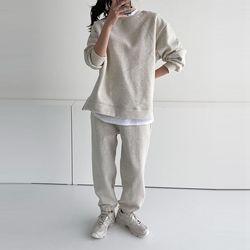 [Set] Gimo Twin Sweatshirt   Jogger Pants - 안감기모