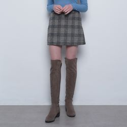 W27 ay wool check mini skirt charcoal