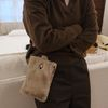 Fur mini pouch bag  ( beige )